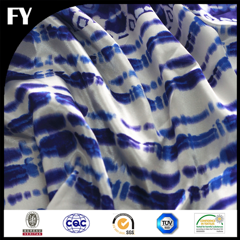 Factory direct custom digital printed 100 polyester satin blue stripe fabric
