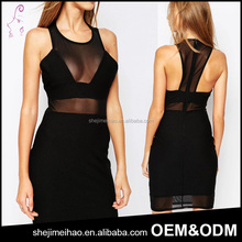 OEM Latest Designs Open Breast Sexy Corset Dress Strapless Black Net Dress for Party