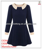 Top fashion new arrival long sleeve doll collar korean dresses new fashion lady dress