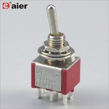 MTS-202 6MM DPDT 6Pin ON-ON 2 Way 2 Pole Red Toggle Switch