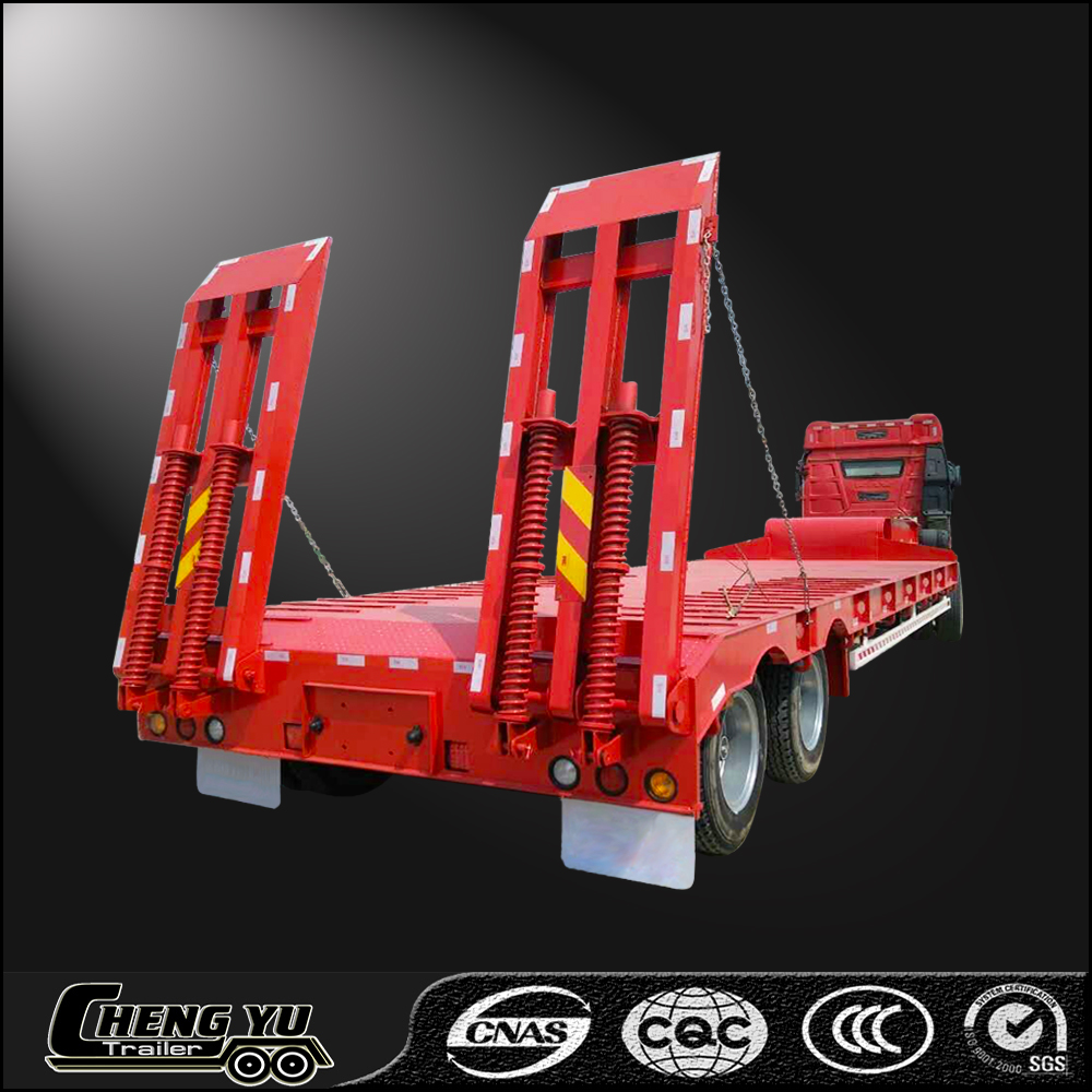 Alibaba high qulity Widely transport 2 axles lowboy lowbed truck semi trailer