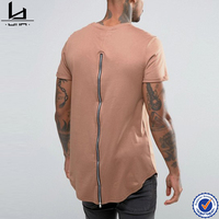 Clothes men new design fashion high quality clean cotton blank fitted back zip t-shirt