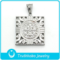 TKB-P0275 Stainless Steel Shema Israel Prayer Hamsa Pendant Necklace