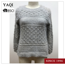 Crew Neck Pullover Tight Sweater Crochet Clothing for Mature Women