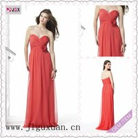 1579-1hs Fantastic with Flower Chiffon Sweetheart A-Line Floor-length watermelon bridesmaid dress