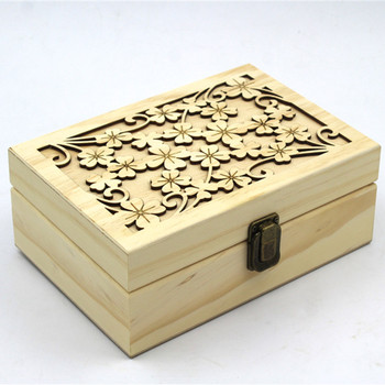 Wooden Essential Oil Box With beautiful cut out design on top of the lid
