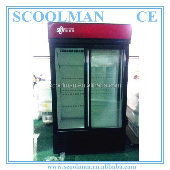China Factory Upright Sliding Glass Door Fridges