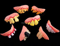 Terrible Funny Goofy Fake Rotten Teeth Halloween Party Favor Creepy Dentures gift DHL Freeshipping