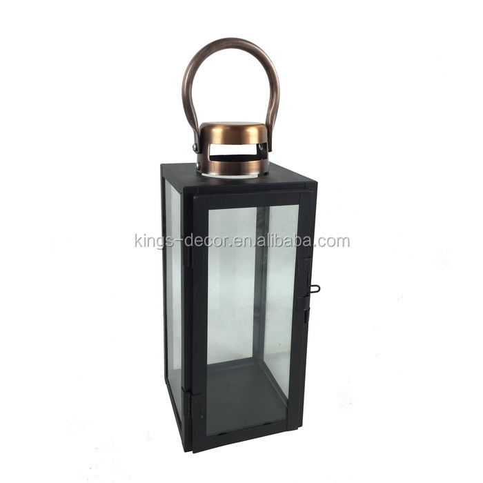 Black square metal candle lantern with golden top