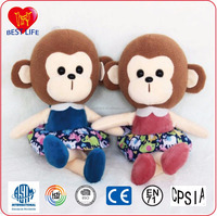 Funny customized girl animal plush toy monkey with skirt (PTAL0816227)