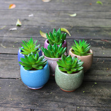 Whosale colorful mini cracked ceramic flower pots with hole