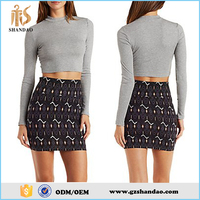 2016 Guangzhou shandao latest spring fashion slim floral print elastic waist cotton sexy mini skirt models