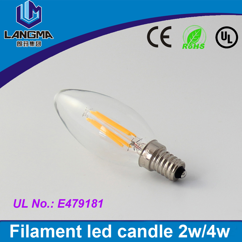 2017 NEW 2W 4W lampada bombillas led lamp E14 <strong>AC</strong> 220V Dimmable LED Filament Candle Bulbs Energy Saving Incandescent Light