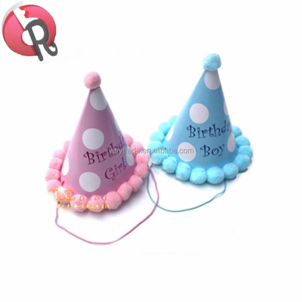 Paper Cone Hats Dress Up Girls Boys Baby First Birthday Party Caps Hat