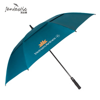 Advertisement Custom Long Shaft Windproof Air Vented Double Canopy Layer Golf Umbrella With Logo Printing