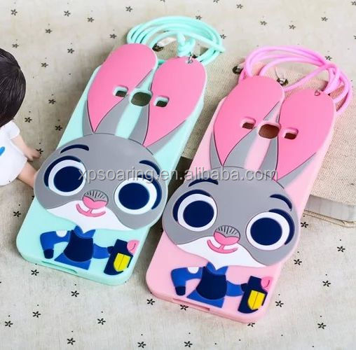 3D cute bunny silicone case back cover for Samsung Galaxy A8 A8000