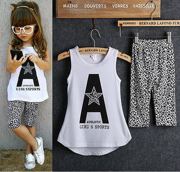 2016 Kids Baby Girls summer clothes set 2pcs suit Letter Print Tops and Leopard Pant sleeveless children's clothing sets