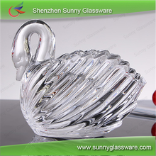 Swan shape crystal glass candle holder