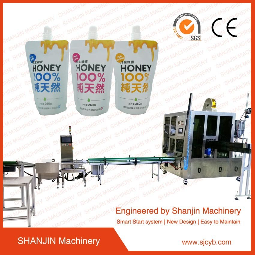 2016 CE certificate doypack spout pouch filling sealing capping machine / automatic Spout pouch filling machine