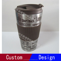double wall steel mug vacuum water bottle with silicone cover and lid stainless cup