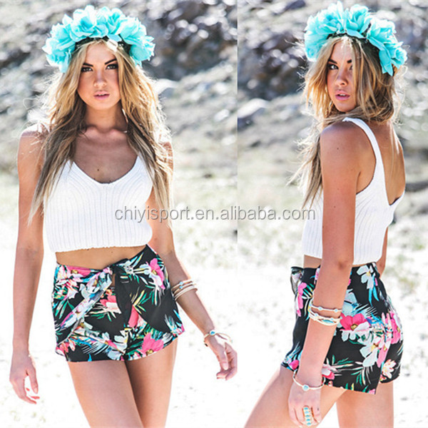 100% polyester summer casual beach shorts for young girl sexy fashion floral printed tied front board short
