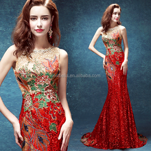 Western Fashion Women Tight Sexy Red Christmas Party Dresses Long Mermaid Evening Dress Red