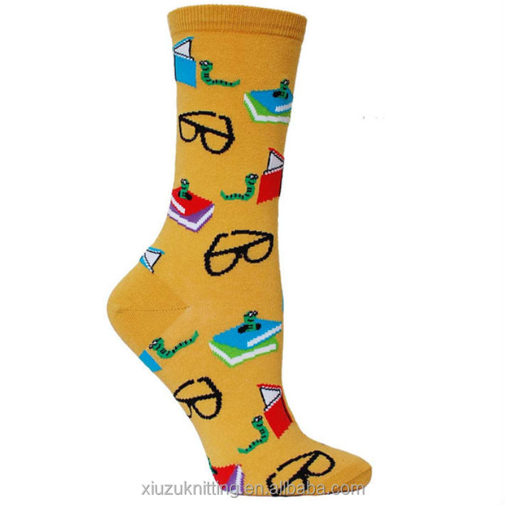 Yellow crew length sock with actual book-reading worms