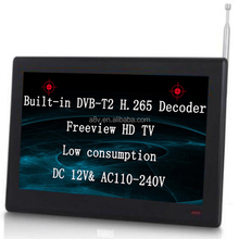 10.1 inch 12V DC freeview TV with built-in DVB-T2 decoder digital TV function