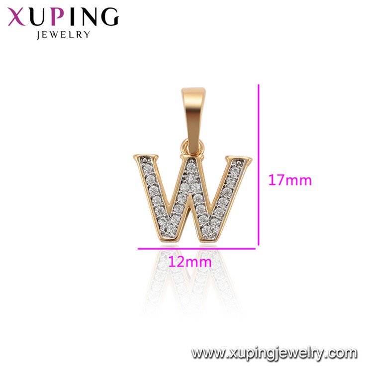 34184 Xuping fashion letter w pendant gold plated cz necklace jewelry for women