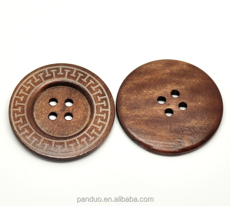 Coffee 4 Holes Big Wood Sewing Buttons for Outerwear Sweater Overcoat Clothing