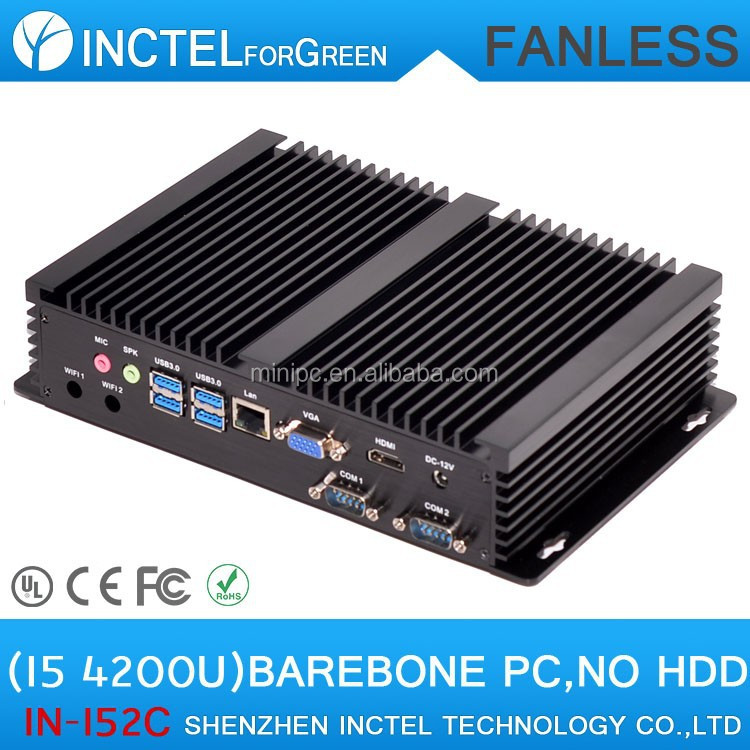 Barebone PC Htpc Mini PC Computer Fanless with Intel Core i5 4200U 1.6Ghz 2 COM 4 USB3.0 Desktop Mini PC CPU