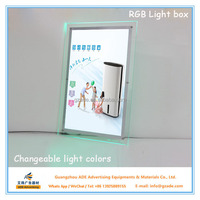 RGB light with remote control crystal light box advertising 20*28inch