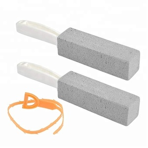 Toilet Bowl Pumice Cleaning Stone Scouring Sticks with Handle, Remove Hard Water Ring Rust Stain with Drain Snake Pipe Cleaner
