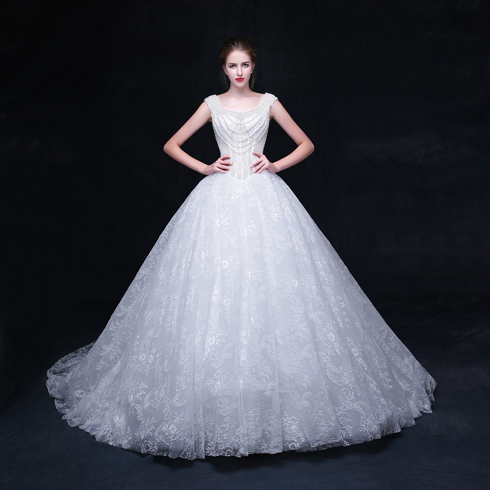 H636 2017 Sexy and Transparent Lace Beading Bodice Wedding Dress in Big Skirt Bridal Gown With Long Train