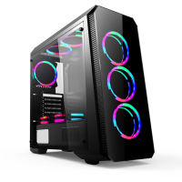 Hot Sale Tempered Glass ARGB Fans PC Case Mid Tower ATX Gaming Computer Case
