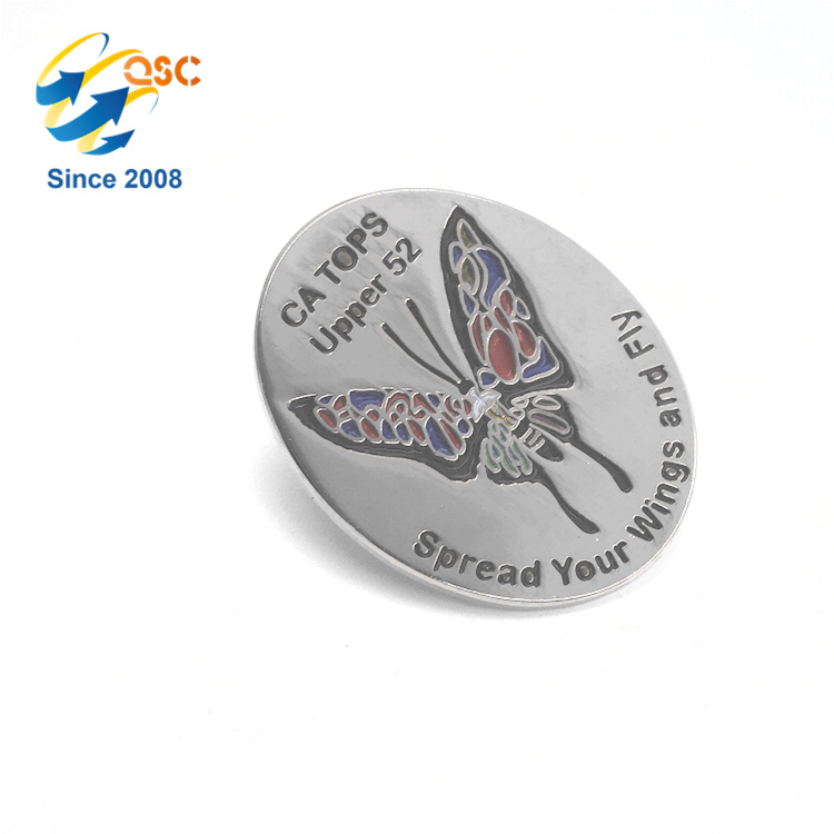 new design lapel pin with colorful butterfly