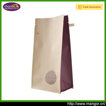 Flat Bottom Quad Seal Brown Pouch Bag Zip Lock Packaging With Tin Tie