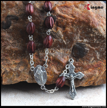 Catholic special design wood beads rosary jewelry with our lady of Medugorje