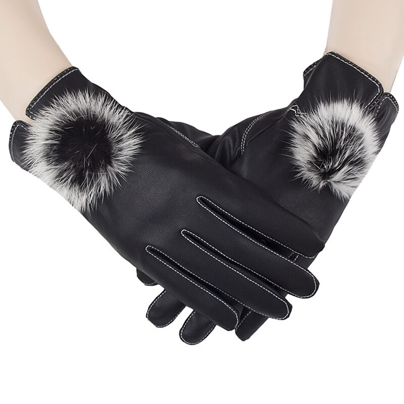 2016 new fashion ladies winter waterproof leather screen touch gloves