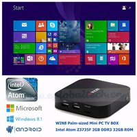 5V/3A Fanless Baytrail Mini PC Nettop Win8 with Bing WINTEL Intel Atom Z3735F Quad Core HTPC Living Home Computer Android TV Box