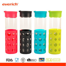 Everich Eco-friendly high-grade borosilicate glass water bottle with silicone cover