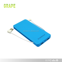 Built-in Cable Li-polymer 10000mah Power Bank with Adapter for iPhone Mobile Portable Charger