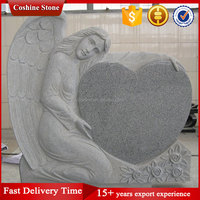 G603 Grey Angel Heart Headstone Monument Tombstone