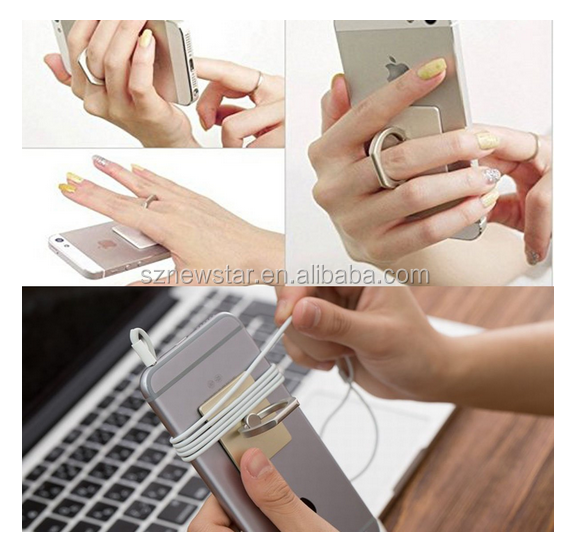 Shenzhen newstar Universal 360 Degree Rotating Metal Push Ring Finger Grip Stand Holder
