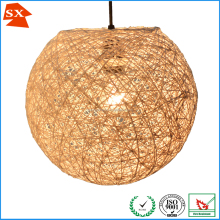 Classic natural ball rattan thread wrapped strings living pendant lampshade