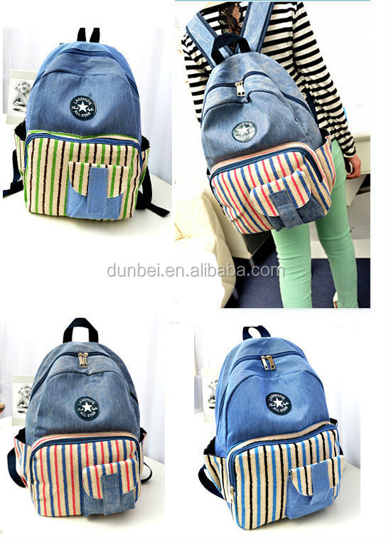New fashion backpack 2015 New designer lovely striped backpack School Bag