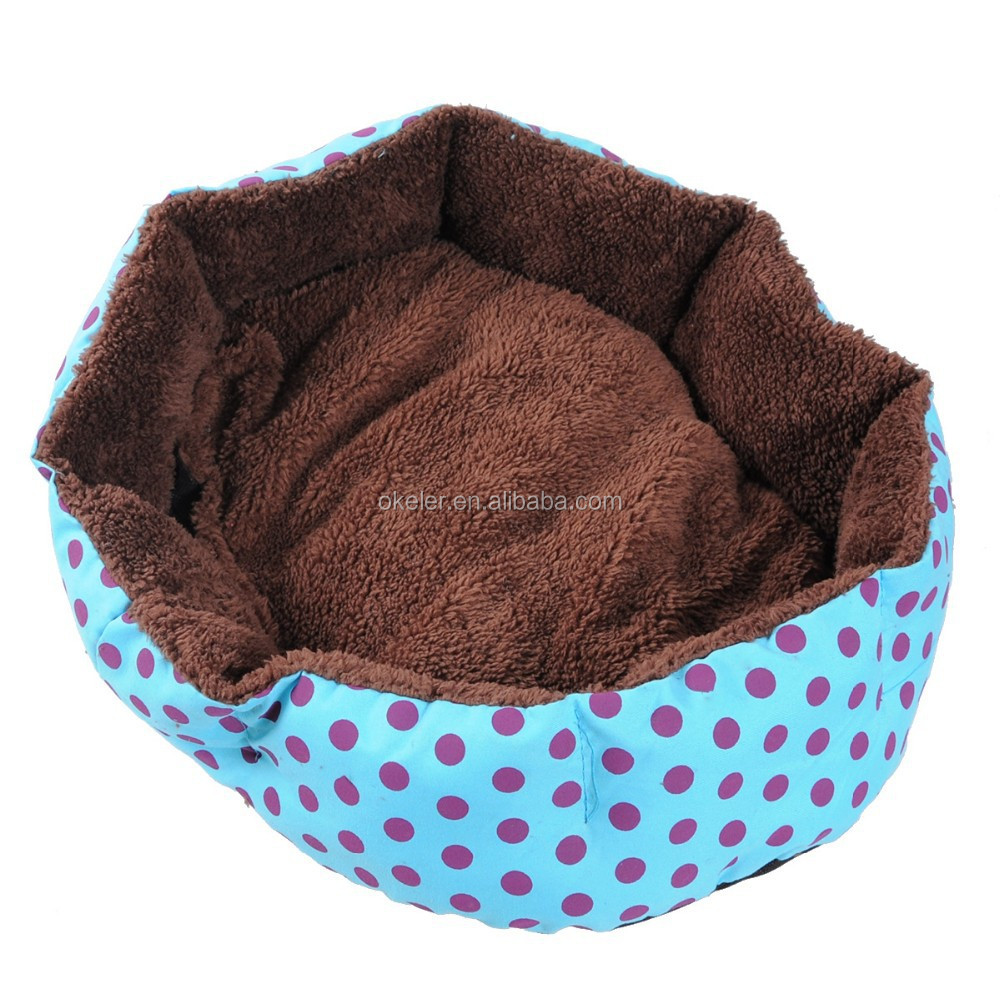 Blue Cozy Soft Warm Fleece Pet Dog Puppy Cat Bed House Nest 40X35 with Pillow
