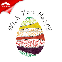Wish You Happy Colorful Easter Egg Rhinestones Wholesale Hot Fix Transfers Easter