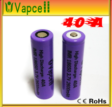 vapcell 40a IMR 18650 high drain battery Purple vapcell IMR 18650 40amp 2600mAh battery 40a flat top 18650 battery
