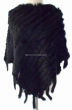 Rabbit fur fabric triangle shape pullover vest knitted acrylic with fringes